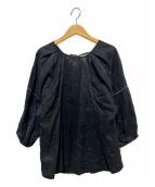 MARILYN MOON(マリリンムーン)の古着「リネンステッチバックコンシャスブラウス」|ブラック