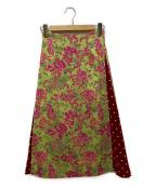 EMMEL REFINES(エメル リファインズ)の古着「ジャガードフラワードットフレアスカート」|ピンク×グリーン