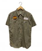 PHERROWS(フェローズ)の古着「ボーリングリネンシャツ」|カーキ