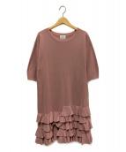 LANVIN en Bleu(ランバンオンブルー)の古着「フリルヘムワンピース」|ピンク