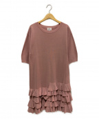 LANVIN en Bleu(ランバンオンブルー)の古着「フリルヘムワンピース」 ピンク