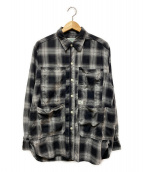 SASSAFRAS(ササフラス)の古着「ポケットチェックシャツ」 グレー