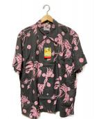 Duke Kahanamoku(デュークカハナモク)の古着「アロハシャツ」|グレー×ピンク