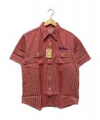 ()の古着「ヒッコリーワークシャツ」 レッド×ホワイト