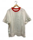CLANE HOMME(クラネ オム)の古着「ショートスリーブジップTシャツ」|ホワイト×オレンジ