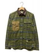 ()の古着「レザーカラーミリタリーチェックシャツ」|オリーブ
