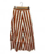 Diagram(ダイアグラム)の古着「ストライプフレアスカート」|オレンジ×ホワイト