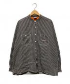 big mac(ビッグマック)の古着「バンドカラーシャツ」|ブラック×ホワイト