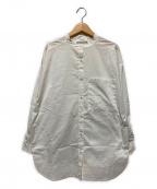 Adam et Rope(アダムエロペ)の古着「ラウンドヘムバンドカラーシャツ」 ホワイト