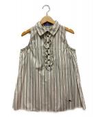 ()の古着「アイコン刺繍ノースリーブブラウス」 ホワイト×ブラウン