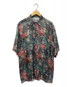 ()の古着「ヴィンテージ総柄シルクシャツ」 グリーン