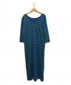 Le minor(ルミノア)の古着「ボーダーワンピース」 ブルー×グリーン