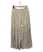 qualite(カリテ)の古着「タックワイドフレアパンツ」|アイボリー