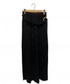 ETRE TOKYO(エトレトウキョウ)の古着「リネン混ベルテッドニットワイドパンツ」|ブラック