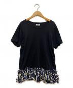 Coohem(コーヘン)の古着「ツイードフリンジTシャツ」|ブラック