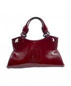 Cartier(カルティエ)の古着「マルチェロパテントレザーハンドバッグ」 ボルドー