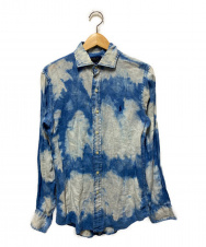 POLO RALPH LAUREN (ポロ・ラルフローレン) リネンシャツ ブルー×ホワイト サイズ:XS