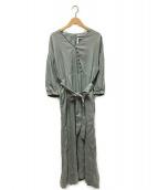 ()の古着「ヨーロピアンフラックスリネンワンピース」|グリーン