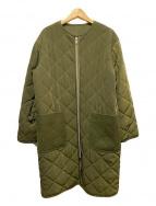 ()の古着「ノーカラーキルティングコート」|グリーン