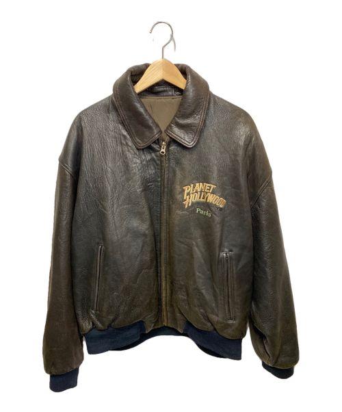 PLANET HOLLYWOOD(プラネットハリウッド)PLANET HOLLYWOOD (プラネットハリウッド) 90's刺繍リバーシブルレザージャケット ブラウン×カーキ サイズ:Lの古着・服飾アイテム