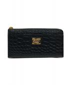 ()の古着「クロコダイルL字ファスナー長財布」|ブラック