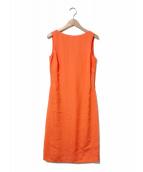 ()の古着「シルク混バックスリットオープンノースリーブワンピース」|オレンジ