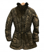 ARMANI JEANS(アルマーニジーンズ)の古着「シャーリングデザイン中綿コート」|ブラウン