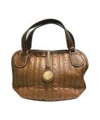 ()の古着「馬車金具キルティングハンドバッグ」 ブラウン