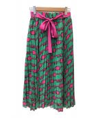 ()の古着「KEYプリントロングプリーツスカート」 グリーン