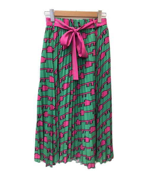 THOMAS MAGPIE(トーマス マグパイ)THOMAS MAGPIE (トーマス マグパイ) KEYプリントロングプリーツスカート グリーン サイズ:38の古着・服飾アイテム