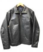 GAP(ギャップ)の古着「レザーカーコートジャケット」 ブラック
