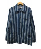 ()の古着「ストライプシャツジャケット」 ブルー