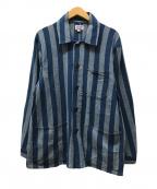 GAIJIN MADE(ガイジンメイド)の古着「ストライプシャツジャケット」|ブルー