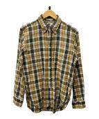 ()の古着「チェックBDシャツ」|ベージュ