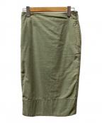 MADISON BLUE(マディソンブルー)の古着「SOFIE/バックサテンタイトロングスカート」 グリーン