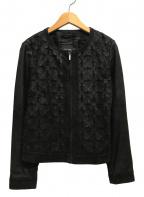 WEEKEND Max Mara(ウィークエンド マックスマーラ)の古着「ノーカラーレザージャケット」|ブラック