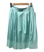 ()の古着「ドットカットレースフレアスカート」|グリーン
