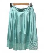 LANVIN COLLECTION(ランバンコレクション)の古着「ドットカットレースフレアスカート」|グリーン