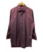 ()の古着「カフスストライプシャツ」|ボルドー