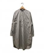 Gymphlex(ジムフレックス)の古着「バンドカラーシャツワンピース」 グレー×アイボリー