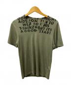 MARTIN MARGIELA(マルタン・マルジェラ)の古着「エイズプリントTシャツ/エイズTEE」|オリーブ