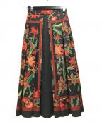 Ameri VINTAGE(アメリヴィンテージ)の古着「フラワープリントフレアロングスカート」 オレンジ×ブラック
