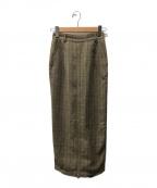 Ameri VINTAGE(アメリヴィンテージ)の古着「チェックロングスカート/ジップ」|ベージュ