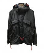 TOGA VIRILIS()の古着「ナイロンシアーメッシュフーテッドジャケット」 ブラック×ネイビー
