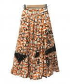 PRADA(プラダ)の古着「21SSコレクションライン 総柄スウェットスカート」 オレンジ