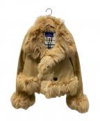 BURBERRY BLUE LABEL(バーバリーブルーレーベル)の古着「フォックスファーラムレザージャケット」|ベージュ