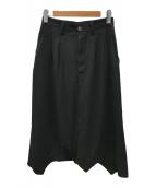 ()の古着「ポリギャバジンロングスカート」 ブラック