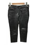 ()の古着「レザー切替パンツ」 ブラック
