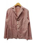 ()の古着「ストライプシャツジャケット」|ピンク