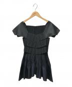 ISSEY MIYAKE(イッセイミヤケ)の古着「プリーツブラウス」|ブラック×ネイビー